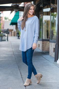 """""""Good Girl Gone Tunic, Light Blue"""" Girl, this too tunic is too good to pass up! It's fabric is so soft you won't ever want to take this one off! Good things it's not only comfy it's also completely adorable!  #newarrivals #shopthemint"""