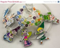 Legend of Zelda Spirit Tracks inspired geeky wine glass charms set of 5 by TheWarpZoneStore, $12.74
