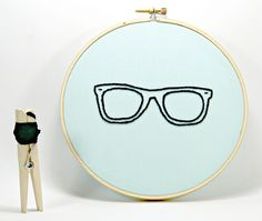 Nerdy Glasses Embroidery Hoop Art. Hand Embroidered., via Flickr.