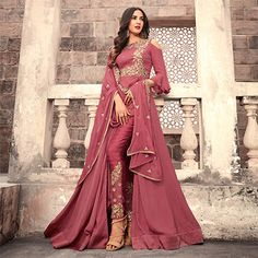 Buy graceful pink colored designer partywear embroidered georgette anarkali suit with santoon fabric lining and bottom along with chiffon dupatta at best price from peachmode. Classic Indian salwar Click above VISIT link for more details Anarkali Dress, Pakistani Dresses, Indian Dresses, Indian Outfits, Lehenga, Bridal Anarkali Suits, Casual Indian Fashion, Black Anarkali, Bridal Sarees