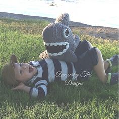 """Chomp"" the Shark is Totally Jawsome! Perfect for home & nursery décor. Measuring approximately 2 feet long and made with Bernat Blanket Super Bulky yarn making him soft, cuddly and quick to work up."