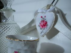 Shabby White French Wooden Hanger Rose Cross Stitch by CraftyMJC, $20.00