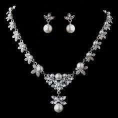 Silver Plated Floral Rhinestone White Faux Pearl Necklace and Earring Set 12668 | eBay#vi-content