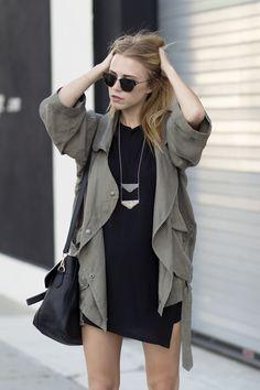 jacket + black dress + necklace.