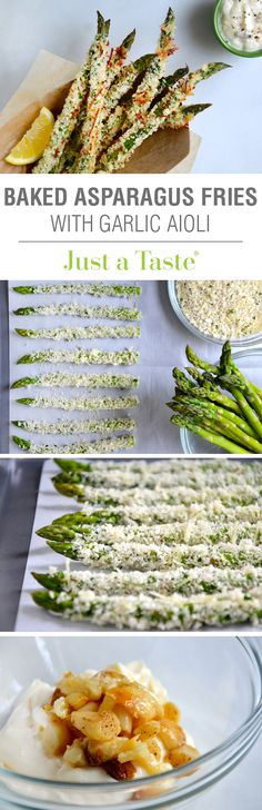 Baked Asparagus Fries with Roasted Garlic Aioli -- would be great as a spiced-up side dish for burgers. The garlic aioli would also make a great burger spread, come to think of it! Side Recipes, Vegetable Recipes, Vegetarian Recipes, Cooking Recipes, Healthy Recipes, Garlic Aioli Recipe, Roasted Garlic Aioli, Asparagus Fries, Baked Asparagus