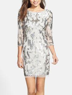 Embellished sheath dress = cocktail glam.