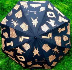 Cool Princeton University umbrella with architecture, sculpture, campus highpoints and tiger statues