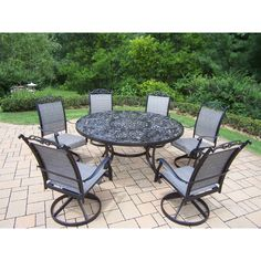 Oakland Living Corporation 7-Piece Outdoor Patio Dining Set with Swivel Rocker Chairs, Patio Furniture