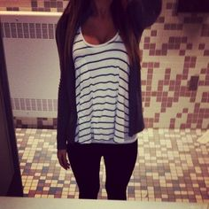 white and blue stripped top, grey cardigan, and black jeans