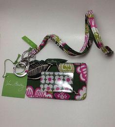 Vera Bradley Zip ID Case & Breakaway Lanyard in Olivia Pink-NWT-$28 Retail-FS! #VeraBradley