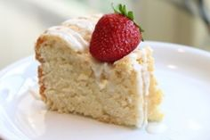 This recipe is good! Dense, soft & just the right amount of sweet. I made it in a bunt cake pan and served with homemade whipped cream + strawberries. Just Desserts, Delicious Desserts, Yummy Food, Bunt Cakes, Cupcake Cakes, Cupcakes, Baby Food Recipes, Dessert Recipes, Baking Recipes