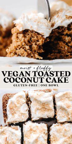 Dairy Free Gluten Free Cake, Gluten Free Coconut Cake, Vegan Coconut Cake, Vegan Gluten Free Desserts, Coconut Desserts, Coconut Recipes, Toasted Coconut, Vegan Sweets, Healthy Dessert Recipes