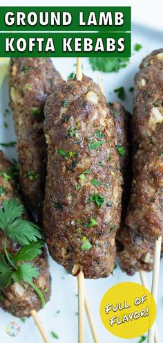 1 reviews · 25 minutes · Serves 8 · Healthy Lamb Kofta Kebabs are easy to make in under 30 minutes! This recipe is made with ground lamb, fresh cilantro, onion, and a homemade Greek seasoning blend. Serve with a cool and creamy Tzaztiki… Healthy Summer Recipes, Spring Recipes, Healthy Snacks, Kofta Kebab Recipe, Low Carb Carrot Cake, Kebab Sticks, Greek Seasoning, Kebab Recipes, Ground Lamb
