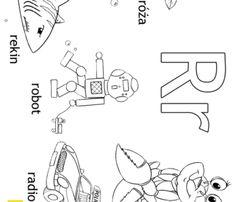 Alfabet - litera R - kolorowanki, malowanki dla dzieci do druku Montessori, Valentines, Math Equations, Reading, Double Deck Bed, Speech Language Therapy, 1st Grades, Valentine's Day Diy, Velentine Day