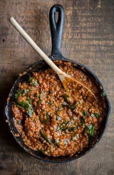 RED LENTILS AND SPINACH IN MASALA SAUCE My son loves masala sauce and this would make a frugal supper!
