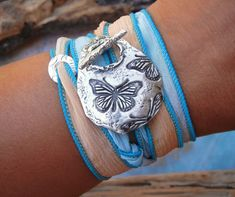 Butterfly Jewelry, Silk Ribbon Bracelet Silver by HappyGoLicky Jewelry. CLICK to see more.