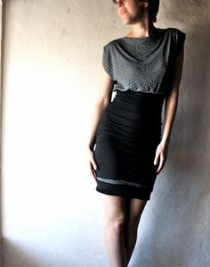 Black Fitted jersey mini dress. via Etsy.