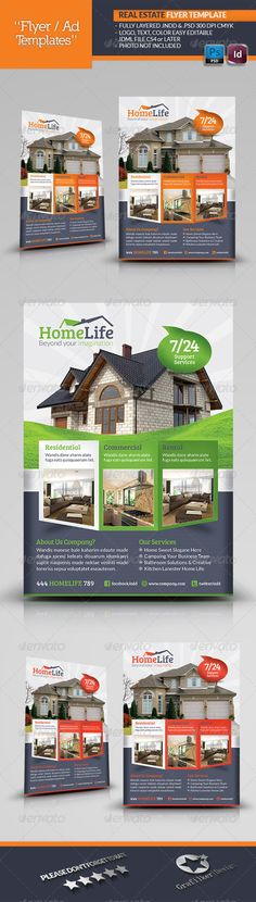 Buy Real Estate Flyer Template by grafilker on GraphicRiver. Real Estate Flyer Template Fully layered INDD Fully layered PSD 300 Dpi, CMYK IDML format open Indesign or later . Real Estate Flyers, Real Estate Business, Real Estate Marketing, Flyer Layout, Brochure Layout, Brochure Design, Web Design, Flyer Design, Layout Design