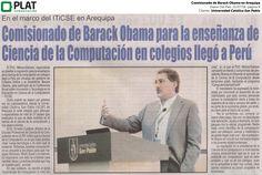 Universidad Católica San Pablo: Comisionado de Barack Obama en Arequipa en el diario Del País de Perú (21/07/16)