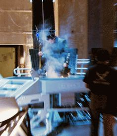 """Behind the scenes of Loki's arrival, Avengers GIF // """"Um, Tom, you okay? TOM? Somebody get a fire extinguisher!"""" -SG"""
