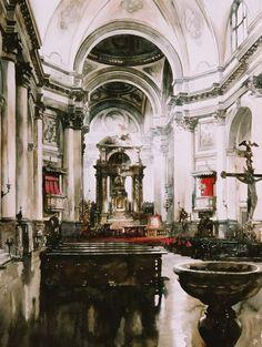 Paul Dmoch - Santa Maria dei Gesuati, Venise, Italie 74 x 56 -