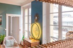 Lampe 80 cm en bois peint Pitch black de F & B Black Queen, Curtains, Mirror, Pitch, Applique, Furniture, Home Decor, Sun Mirror, Painted Wood