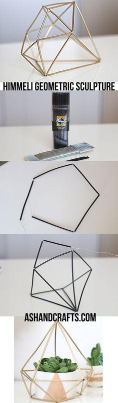 DIY Himmeli Geometric Sculpture | ashandcrafts.com #DIYHomeDecorVases