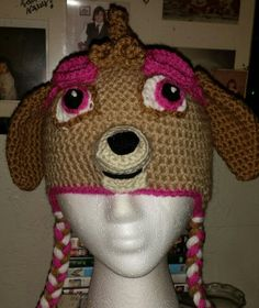 """Crochet hat I made for my granddaughter. Inspired by Skye from """"Paw """"Patrol"""" no pattern, just made it up as I went along Paw Patrol, Crochet Projects, Loom, Headbands, Mad, Projects To Try, Crochet Hats, Crafting, Homes"""