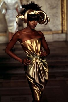 Naomi Campbell in McQueen's first Givenchy collection, wearing Philip Treacy's golden sheep hat, spring couture, 2007.