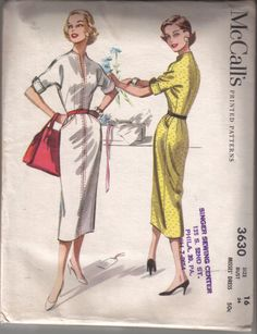 1956 Form Fitting McCall's Vintage Sewing Pattern Dress with Dolman Sleeves High Neckline Bust 34 di EvaStAlbans su Etsy https://www.etsy.com/it/listing/215283210/1956-form-fitting-mccalls-vintage-sewing