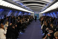 For Chanel's 2012 collection, the runway was a custom aircraft complete with flight seats and a champagne drink cart for viewers.  Best-Dressed Fashion Show Sets, Architectural Digest.