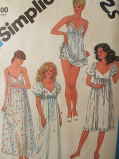 Vintage Simplicity 6468 Sewing Pattern, 1980s Nightgown Pattern, Sleepwear Pattern, Baby Doll PJs, Bust 34, Vintage Sewing