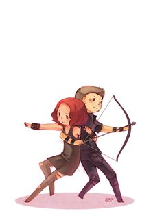 Awwww adorable pic of Black Widow and Hawkeye, created by GraphiteDoll. I want this as a print!