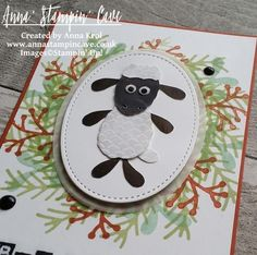 Baa Humbug! Shaun the Sheep punch art fun Christmas card using Pretty Pines Thinlits Dies