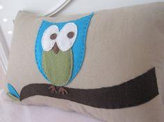 Owl Pillow - Khaki with Blue Owl