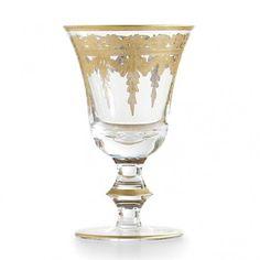 "New ARTE ITALICA Italian Glass VETRO GOLD Set of 4 WINE GLASS 5 oz 5.75""H #ArteItalica"