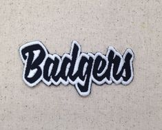 2 x 4 Badgers Red//White Team Mascot Iron on Applique//Embroidered Patch Words//Names