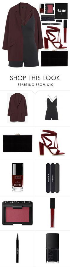 """""""Burgundy"""" by charli-oakeby ❤ liked on Polyvore featuring MANGO, AX Paris, Charlotte Olympia, Gianvito Rossi, Chanel, MAC Cosmetics, NARS Cosmetics, Smashbox and Trish McEvoy"""