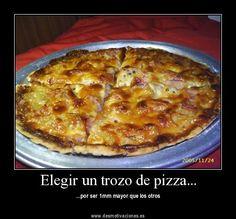 Elegir el trozo de pizza más grande