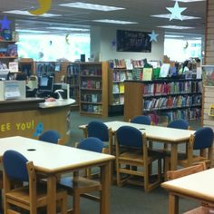 """The Children's Library decorated for the """"Dream Big"""" Summer Reading Club."""