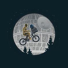 and 'ET' and Star Wars Mashup Tee, Star Wars Humor, illustration. Star Wars Film, Nave Star Wars, Star Wars Art, Star Trek, Power Pop, Culture Pop, Geek Culture, Tableau Star Wars, C3po And R2d2