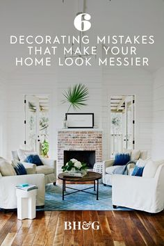 To help you create a space that looks clean and organized, we've compiled a list of decorating mistakes that could be making your home appear messy. #howtomakemyhouselooklessmessy #decluttering #homedecormistakes #bhg Living Room Decor Cozy, Living Room Seating, Living Room Modern, Living Spaces, Modern Farmhouse Decor, Rustic Farmhouse, Farmhouse Style, Farmhouse Ideas, Fireplace Design