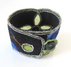 Embriodered fabric cuff bracelet. Chic and unique by JustBracelet, $35.00
