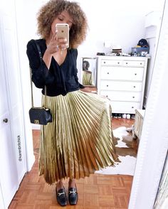 "WhereDidUGetThat.com (@karenbritchick) on Instagram: ""Yesterday in the gold number✨✨✨ . Blouse: Zara (old) Skirt: Halston (thrift find and face when…"""
