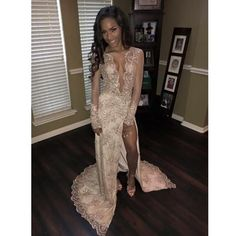 Deep V Neck Long Sleeves Sexy Split Lace Prom Dresses, PM0226
