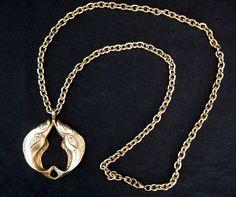Vintage 70s Necklace Pendant Goldtone by LilBlackDressVintage, $25.00