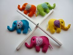 Rainbow Baby Elephants - Felt Nursery Mobile. I want to make this, but with more animals