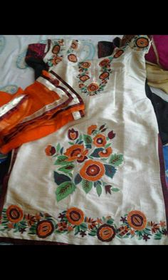 Machine Embroidered Cotton Suit in White Cream With Orange Bottom, With Pure Chinon Chiffon Dupatta
