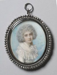 Portrait of the Princess Lubomirska, miniature by Richard Cosway. Watercolor on ivory. (1789)