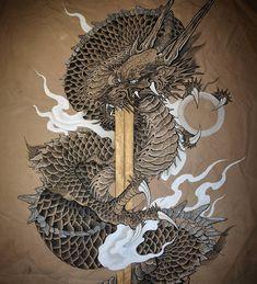 none Asian Dragon Tattoo, Japanese Dragon Tattoos, Japanese Tattoo Art, Japanese Tattoo Designs, Art Chinois, Dragon Artwork, Dragon Pictures, Art Japonais, Dragon Tattoo Designs